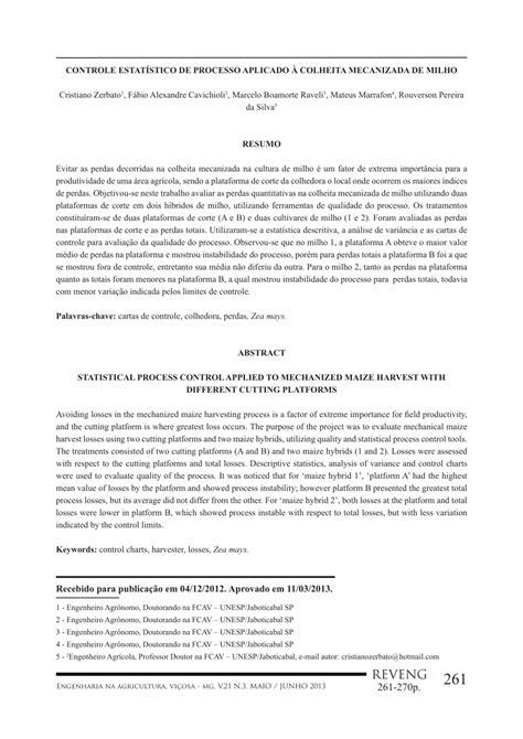 (PDF) Controle Estatístico de Processo Aplicado à Colheita