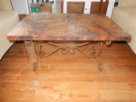 hammered copper table l a hammered copper and iron coffee table at 1stdibs