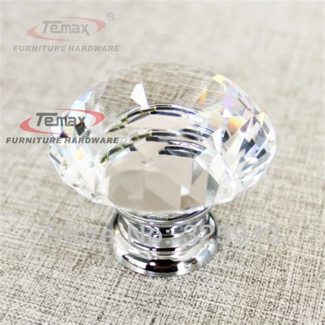 glass cabinet knobs and pulls 30mm zinc alloy clear sparkle glass kitchen