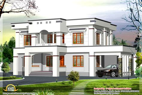 stylish flat roof home design 2400 sq ft kerala home