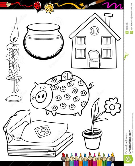 coloring pages household objects cartoon home objects coloring page stock images image