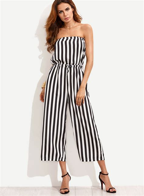 Striped High Waist Cropped s stripe high waist cropped wide leg jumpsuit