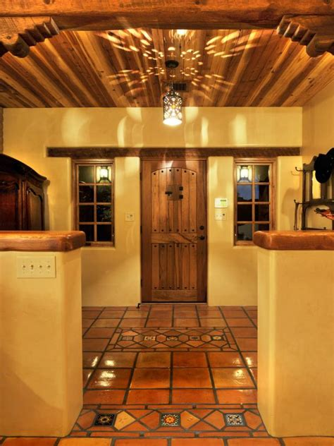 spanish hacienda style foyer  terra cotta tile hgtv