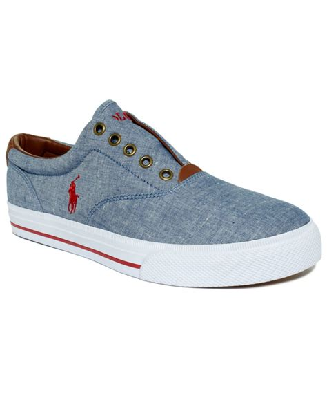 polo shoes for polo ralph vito laceless chambray sneakers in blue