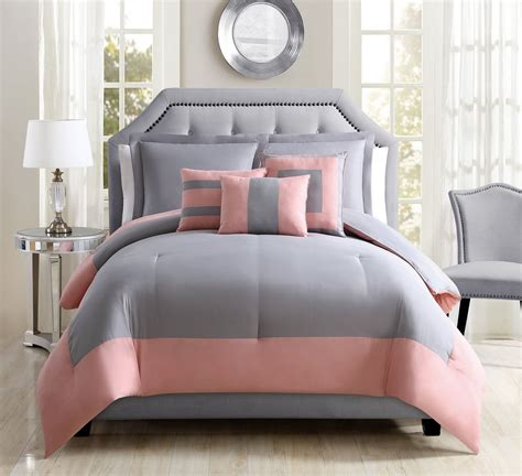 coral and gray comforter 6 piece odyssey coral gray reversible comforter set