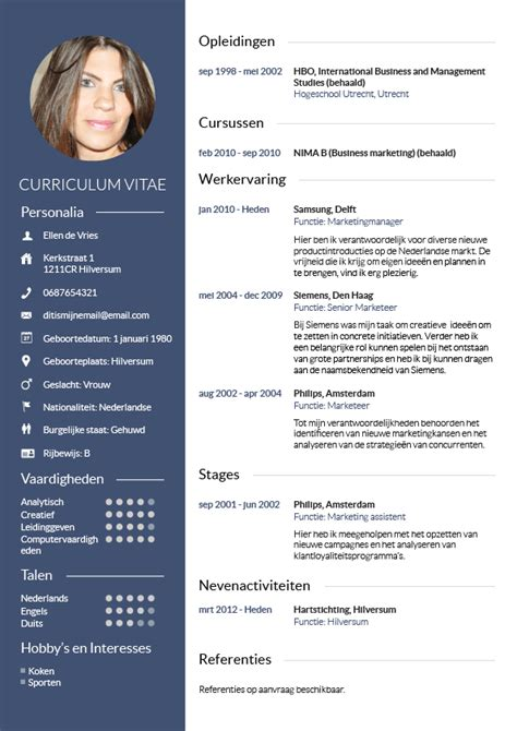 Cv Template Nederlands Builder Resume Free Sap Bi Resumes For 3 Years Pta Resume The Most Stylish Sle Resume For
