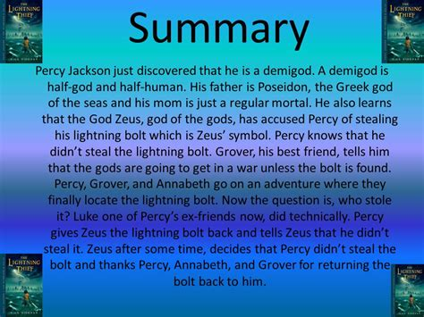 percy jackson and the lightning thief book report powerpoint by anoushka d period 6 ppt