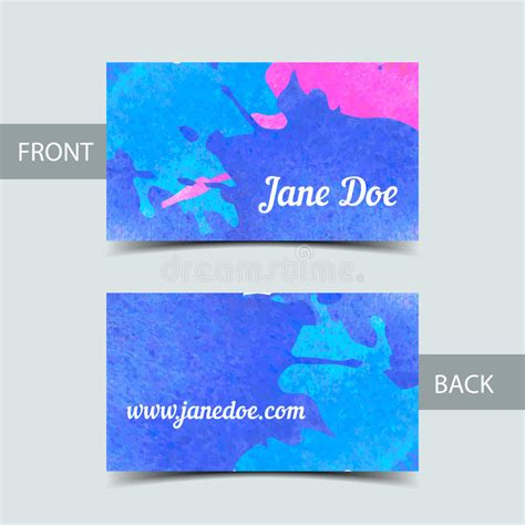 caricature business card templates business card template for watrcolor illustrator stock