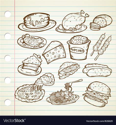 food doodle vector free junk food doodles royalty free vector image vectorstock