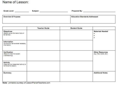 7 teacher lesson plan template bookletemplate org