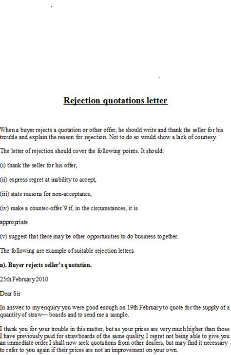 Business Letter Response To The Quotation business letter sles rejection quotations letter