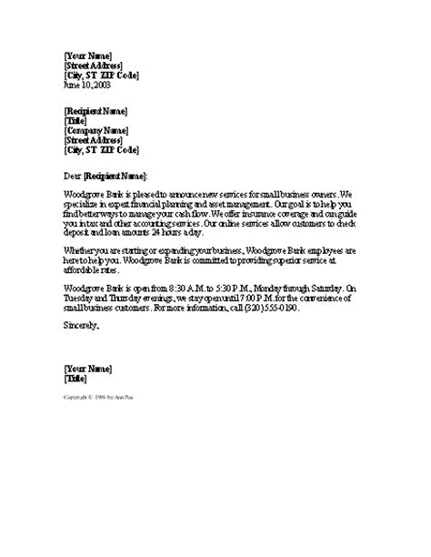 Customer Letter Announcing Acquisition Announcement Of New Service To Potential Corporate Clients Word 2003 Or Newer Letter
