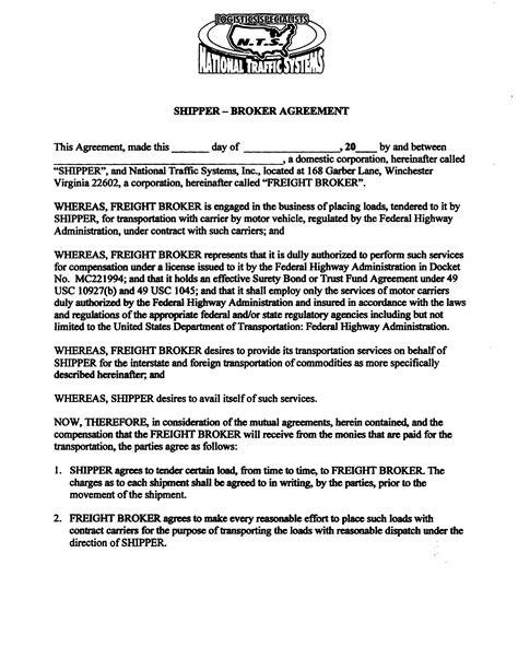 Customers National Traffic Systems Winchester Va Insurance Broker Agreement Template