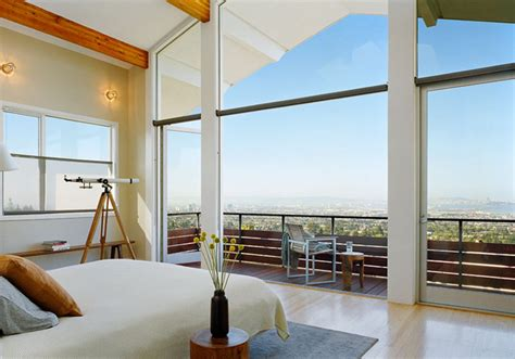 Bedroom Furniture San Francisco master bedroom with wall of glass and spectacular view
