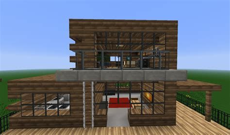wooden house in minecraft wooden modern house minecraft project