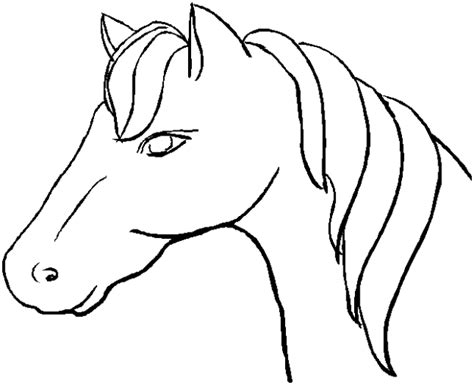 simple horse coloring page easy drawings of horses heads clipart best