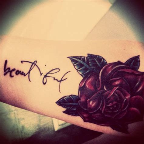 rose tattoo with words arm designs for pretty designs