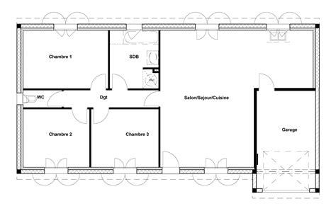 plan maison 3 chambre charming plan maison 90m2 3 chambres 14 plan maison 90m2
