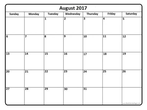 free templates for calendars august 2017 calendar template
