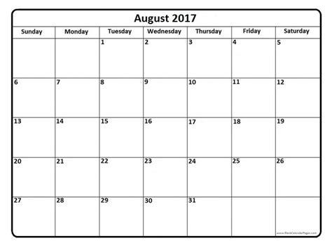 free printable calendar templates august 2017 calendar template