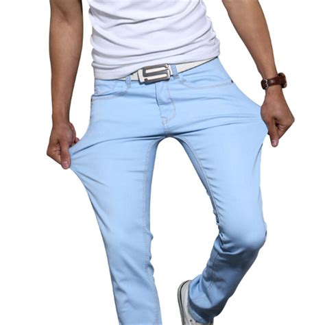 are colored pants in style for 2016 men elastic casual straight jeans 2016 new mid cowboy