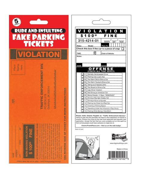 printable pretend tickets funny parking tickets to print pictures to pin on