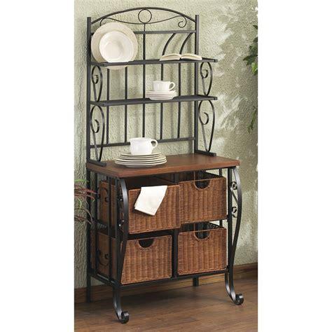 iron wicker bakers rack home pantry kitchen furniture lillian iron rattan baker s rack 515480 kitchen dining