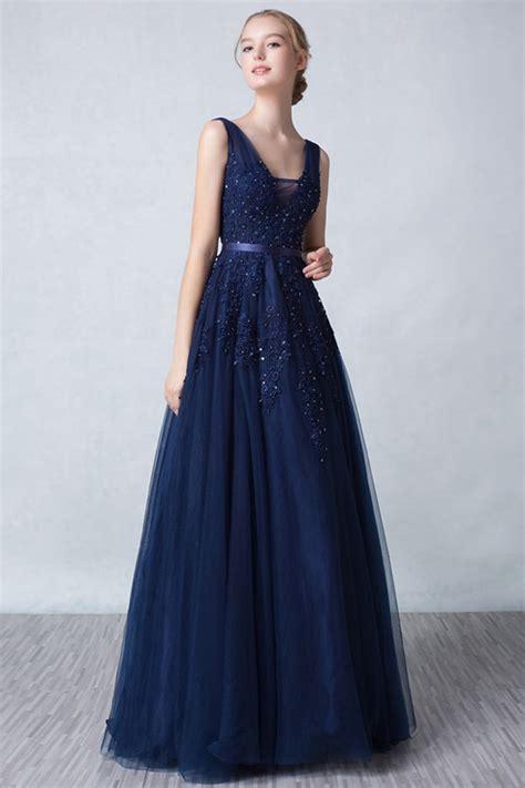robe elegante soiree princesse bleu nuit dos decollete en