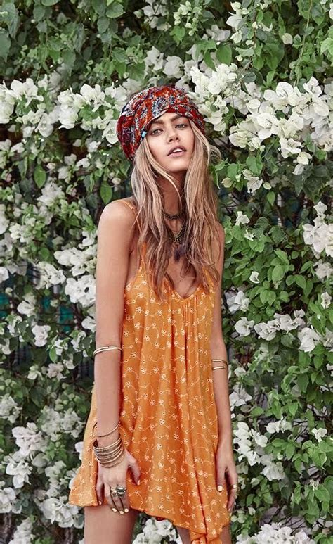 hippie style lightweight dress and modern hippie headband for a boho chic festival style look f