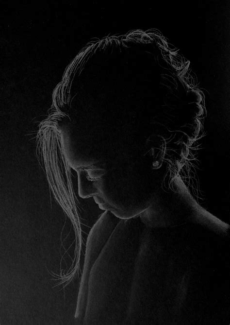 black and white pencil drawings in silhouette pastel on black paper by 6re9 on