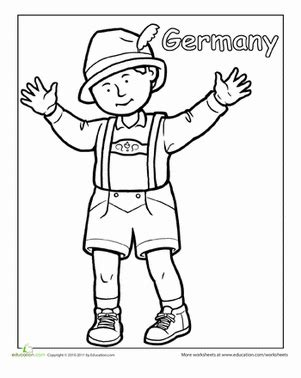 German Coloring Pages german traditional clothing worksheet education