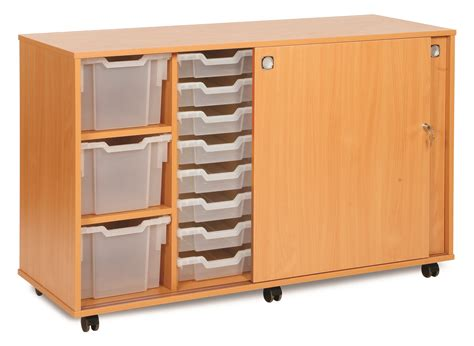 Entrance Storage Units Monarch Mobile School Mixed Size Tray Sliding Door Storage