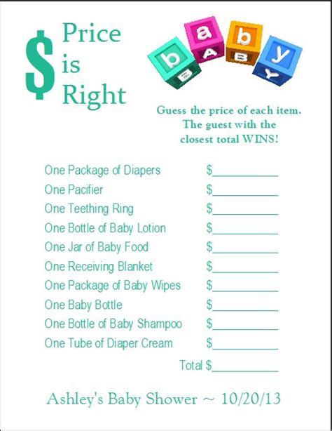 free printable price is right baby shower template 24 personalized price is right baby shower