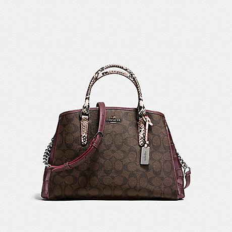Coach Margot Oxblood coach f38380 small margot carryall in signature coated canvas and embossed leather