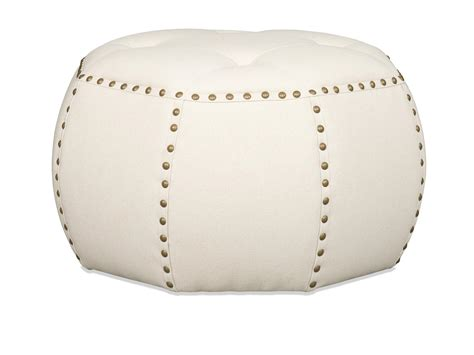 With Nailhead Trim by Banner Transitional Pouf Ottoman With Nailhead Trim By Sam