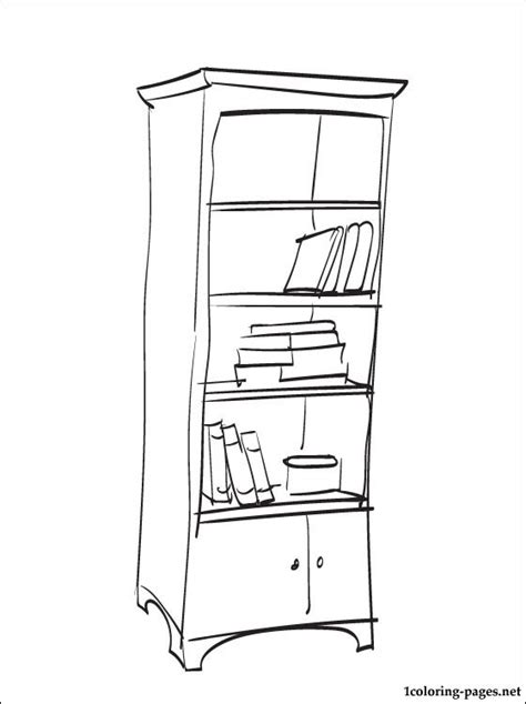 coloring page of a dresser coloring page bookshelf coloring pages