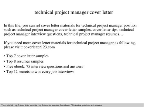technical project manager cover letter technical project manager cover letter