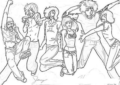 imagenes para colorear jovenes dibujo de grupo de jovenes adolescentes saltando y