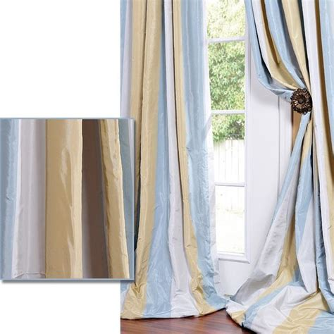 faux taffeta curtains striped faux silk taffeta blue hemp tone curtain panel