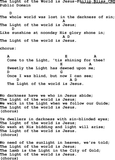 Jesus Is The Light Song by Gospel Song The Light Of The World Is Jesus Philip Bliss