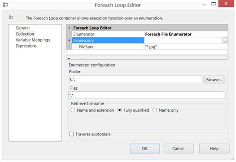 how can i set an expression to the file mask input on foreach loop enumerator in ssis 2008