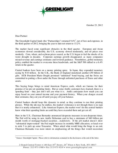 Letter To Investor David Einhorn Greenlight Capital Investor Letter