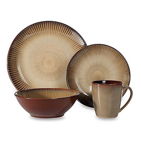 sango focus brown 16 dinnerware set bed bath beyond