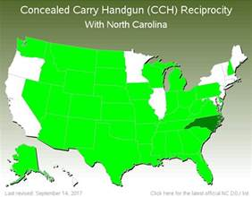 carolina ccw reciprocity map concealed carry handgun cch reciprocity