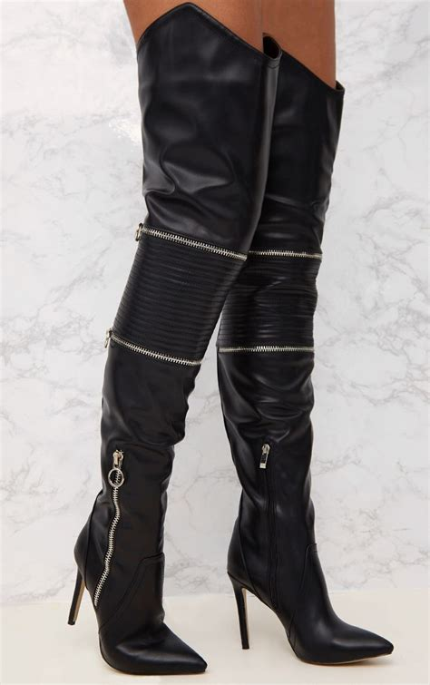 heeled biker boots black thigh high heeled biker boots shoes