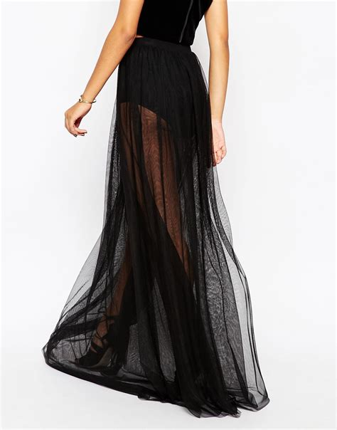 asos sheer maxi skirt with knicker in black lyst