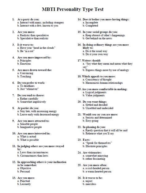 printable questionnaires personality image gallery mbti testing