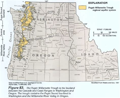 map of oregon idaho border ha 730 h puget willamette trough regional aquifer system text