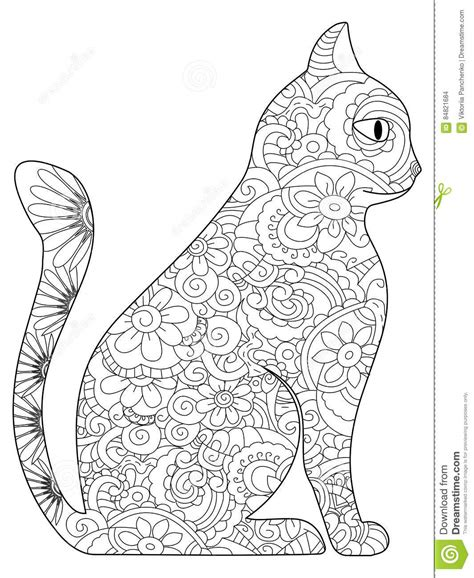 cat coloring book vector for adults stock vector image