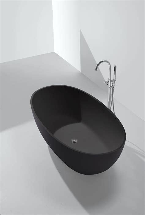 schwarze badewanne mg b005 in schwarz 177 5x91 freistehende mineralguss